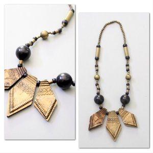 Vintage ebony & brass statement necklace, 60s 70s